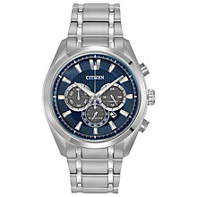 Buy Citizen CA4016-51L Men's Sport Titanium Chronograph Watch, Silver/Blue Online at johnlewis.com