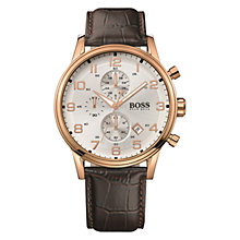Buy BOSS Men's Chronograph Leather Strap Watch Online at johnlewis.com
