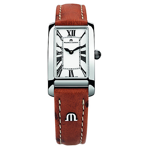 Buy Maurice Lacroix FA2164-SS001-117 Women's Rectangular Leather Strap Watch, Brown/Silver Online at johnlewis.com