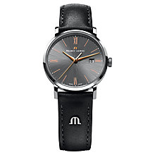 Buy Maurice Lacroix EL1084-SS001-811 Women's Leather Strap Watch, Grey/Black Online at johnlewis.com