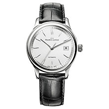 Buy Maurice Lacroix LC6027-SS001-130 Men's Croc Leather Strap Round Dial Watch, White Online at johnlewis.com
