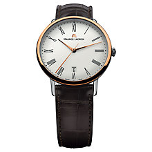 Buy Maurice Lacroix LC6067-PS101-110 Men's Stainless Steel Round Dial Leather Strap Watch Online at johnlewis.com