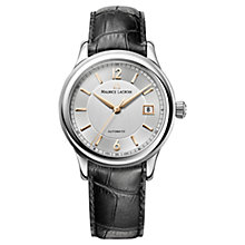 Buy Maurice Lacroix LC6027-SS001-122 Men's Round Dial Leather Strap Watch, Silver Online at johnlewis.com
