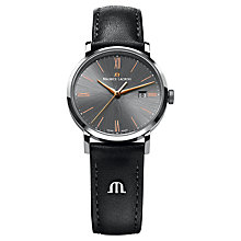 Buy Maurice Lacroix EL1087-SS001-811 Men's Leather Strap Watch, Black Online at johnlewis.com
