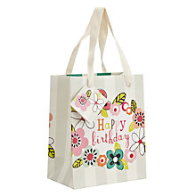 Buy Caroline Gardner Happy Birthday Floral Gift Bag, Small Online at johnlewis.com