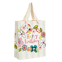 Buy Caroline Gardner Happy Birthday Floral Gift Bag, Medium Online at johnlewis.com