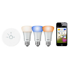 Buy Philips Hue 9W A19 ES Connected Bulb Starter Pack, Multi Online at johnlewis.com