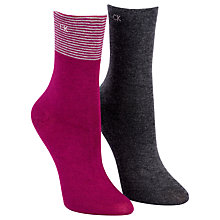 Buy Calvin Klein Holiday Gift Box Cotton Mix Ankle Socks, Pack of 2, Violet Online at johnlewis.com