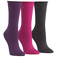 Buy Calvin Klein Roll Top Crew Socks, Purple Multi, Pack of 3 Online at johnlewis.com