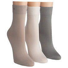Buy Calvin Klein Light Sparkle Ankle Socks, Pack of 3, Natural Online at johnlewis.com