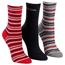 Buy Calvin Klein Holiday Gift Tin Cotton Mix Striped Assortment Ankle Socks, Pack of 3, Red Online at johnlewis.com