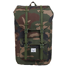 Buy Herschel Little America Camouflage Backpack, Camouflage Green Online at johnlewis.com