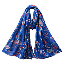 Buy East Alba Paisley Print Scarf, Azure Online at johnlewis.com