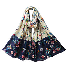 Buy East Juno Border Print Scarf, Azure Online at johnlewis.com
