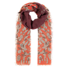 Buy Jigsaw Misto Print Scarf, Salmon Online at johnlewis.com