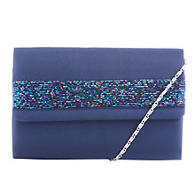 Buy John Lewis Beaded Satin Clutch Bag, Silver Online at johnlewis.com