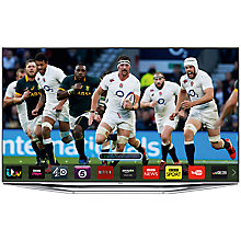 "Buy Samsung UE40H7000 LED HD 1080p 3D Smart TV, 40"" with Freeview/Freesat HD, Voice Control and 2x 3D Glasses with Sound Bar & Wireless Subwoofer, Silver Online at johnlewis.com"