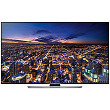 "Buy Samsung UE55HU7500 4K Ultra HD 3D Smart TV, 55"" with Freeview/Freesat HD and 2x 3D Glasses FREE Wireless Multiroom Speaker, White & Hub Online at johnlewis.com"