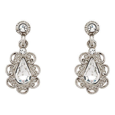 Buy Downton Abbey Collection Silver Plated Crystal Teardrop Drop Earrings Online at johnlewis.com