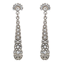Buy Downton Abbey Collection Silver Plated Crystal Long Drop Earrings Online at johnlewis.com