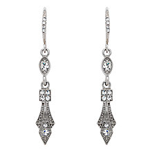 Buy Downton Abbey Collection Silver Plated Crystal Hook Drop Earrings Online at johnlewis.com