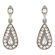 Buy Downton Abbey Collection Silver Plated Crystal Tear Drop Earrings Online at johnlewis.com