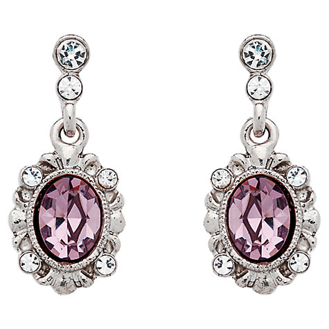 Buy Downton Abbey Collection Silver Plated Amethyst Drop Earrings Online at johnlewis.com