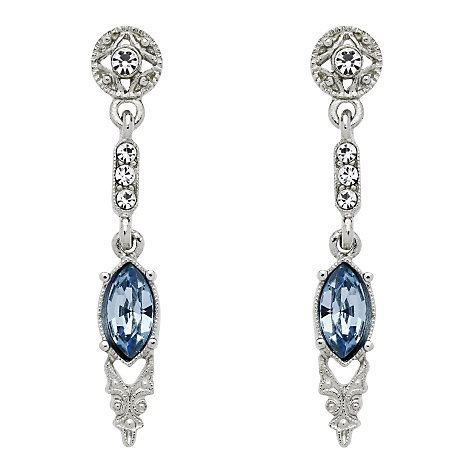 Buy Downton Abbey Silver Plated Crystal Aquamarine Drop Earrings Online at johnlewis.com