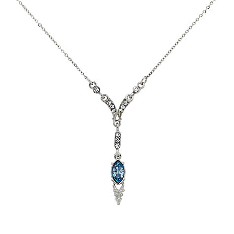 Buy Downton Abbey Silver Plated Aqua Crystal Y-Shaped Pendant Necklace Online at johnlewis.com
