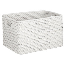 Buy John Lewis Croft Collection Rattan Storage Box, White Online at johnlewis.com