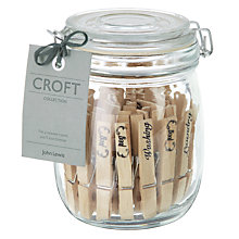 Buy John Lewis Croft Collection 30 Clothes Pegs in Glass Jar Online at johnlewis.com