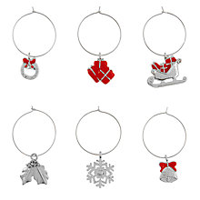 Buy John Lewis Christmas Past Wine Charms, Set of 6 Online at johnlewis.com