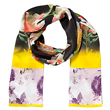 Buy Ted Baker Opulent Bloom Silk Scarf, Black Online at johnlewis.com