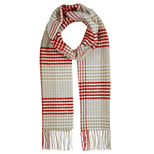 Buy John Lewis Cashmink Grid Check Scarf, Red/Cream Online at johnlewis.com