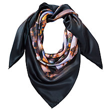 Buy Ted Baker Blooms Of Enchantment Square Silk Scarf, Black Online at johnlewis.com
