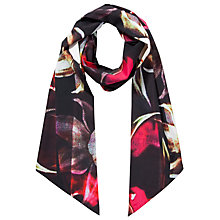 Buy Ted Baker Pleated Petal Skinny Scarf, Black Online at johnlewis.com