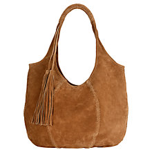 Buy Jigsaw Orla Suede Hobo Bag, Tan Online at johnlewis.com