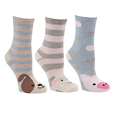 Buy John Lewis Farm Animal Cotton Mix Ankle Socks, Multi, Pack of 3 Online at johnlewis.com