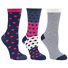 Buy John Lewis Spots & Stripes Cotton Mix Ankle Socks, Multi, Pack of 3 Online at johnlewis.com