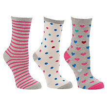 Buy John Lewis Hearts Cotton Mix Ankle Socks, Multi, Pack of 3 Online at johnlewis.com