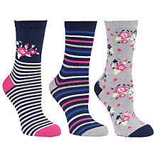 Buy John Lewis Floral Cotton Mix Ankle Socks, Multi, Pack of 3 Online at johnlewis.com