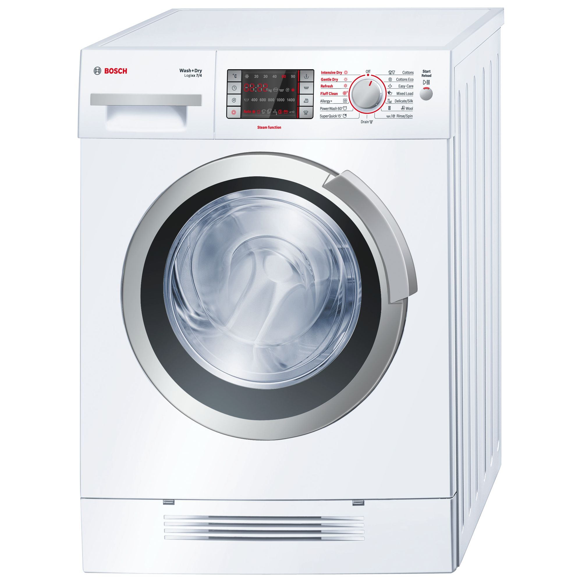 Bosch Logixx WVH28421GB Washer Dryer, 7kg Wash/4kg Dry Load, B Energy Rating, 1400rpm Spin, White