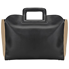 Buy Kin by John Lewis Birgit Raw Edge Leather Tote Bag, Black/Taupe Online at johnlewis.com