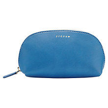 Buy Jigsaw Crescent Leather Zip Top Pouch, Blue Online at johnlewis.com