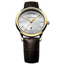 Buy Maurice Lacroix LC1227-PVY11-130 Men's Gold Plated Mock Croc Leather Strap Watch, Brown Online at johnlewis.com