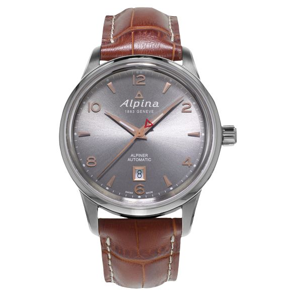 Alpina Alpina AL-525VG4E6 Men's Alpiner Automatic Stainless Steel Leather Strap Watch, Brown/Silver