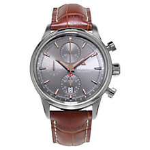 Buy Alpina AL-750VG4E6 Men's Chronograph Leather Strap Watch, Grey Online at johnlewis.com