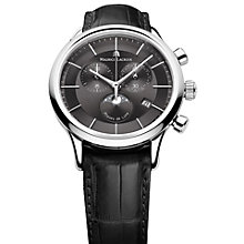 Buy Maurice Lacroix LC1148-SS001-331 Men's Moonphase Round Dial Leather Strap Watch, Black Online at johnlewis.com