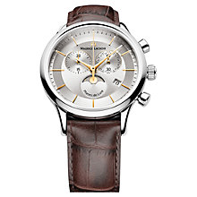 Buy Maurice Lacroix LC1148-SS001-132 Men's Moonphase Round Dial Leather Strap Watch, Silver Online at johnlewis.com