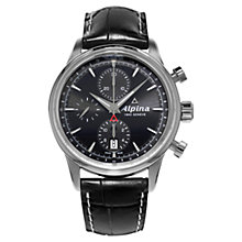 Buy Alpina AL-750B4E6 Men's Automatic Chronograph Leather Strap Watch, Black Online at johnlewis.com